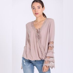 Tops - Lace Surplice Top in Taupe